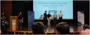 Dr Virender Kadyan and team wins at ACM India Chapter Technology Solutions Contest 2019 held on 10 August 2019
