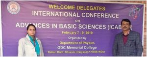 Dr Pankaj Kumar & Team presented their research work at International Conference on advances in basic sciences